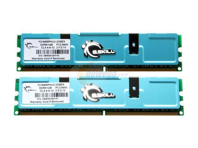 G.SKILL 2GB (2 x 1GB) 240-Pin DDR2 SDRAM DDR2 800 (PC2 6400) Dual Channel Kit Desktop Memory Model F2-6400PHU2-2GBZX