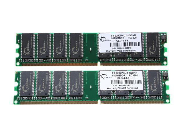 G.SKILL 1GB (2 x 512MB) 184-Pin DDR SDRAM DDR 400 (PC 3200) Dual Channel Kit System Memory Model F1-3200PHU2-1GBNR