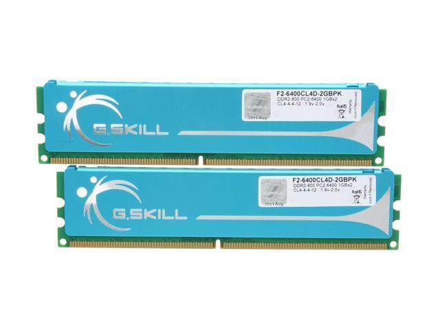 G.SKILL 2GB (2 x 1GB) 240-Pin DDR2 SDRAM DDR2 800 (PC2 6400) Dual Channel Kit Desktop Memory Model F2-6400CL4D-2GBPK