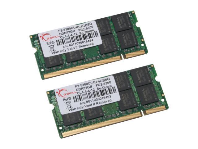 G.SKILL 4GB (2 x 2GB) 200-Pin DDR2 SO-DIMM DDR2 667 (PC2 5300) Dual Channel Kit Laptop Memory Model F2-5300CL4D-4GBSQ