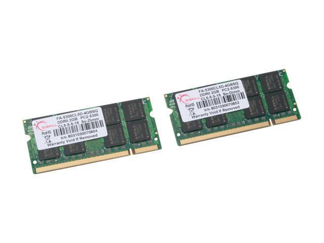 G.SKILL 4GB (2 x 2GB) DDR2 667 (PC2 5300) Dual Channel Kit Memory For Apple Notebook Model FA-5300CL5D-4GBSQ