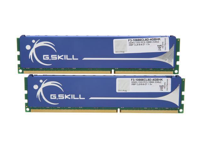 G.SKILL 4GB (2 x 2GB) 240-Pin DDR3 SDRAM DDR3 1333 (PC3 10666) Dual Channel Kit Desktop Memory Model F3-10666CL8D-4GBHK