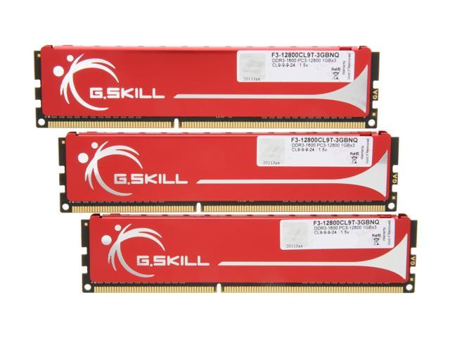 G.SKILL 3GB (3 x 1GB) 240-Pin DDR3 SDRAM DDR3 1600 (PC3 12800) Triple Channel Kit Desktop Memory Model F3-12800CL9T-3GBNQ
