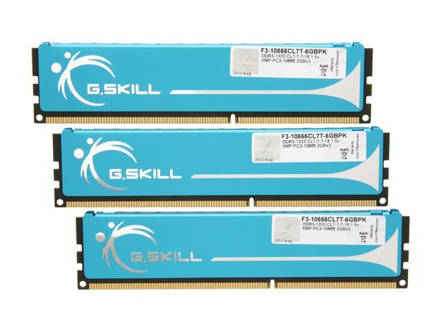 G.SKILL 6GB (3 x 2GB) 240-Pin DDR3 SDRAM DDR3 1333 (PC3 10666) Triple Channel Kit Desktop Memory Model F3-10666CL7T-6GBPK