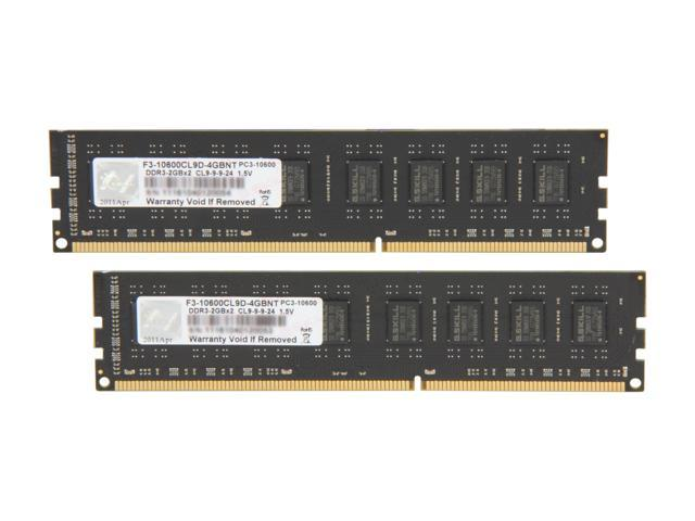 G.SKILL 4GB (2 x 2GB) 240-Pin DDR3 SDRAM DDR3 1333 (PC3 10600) Dual Channel Kit Desktop Memory Model F3-10600CL9D-4GBNT