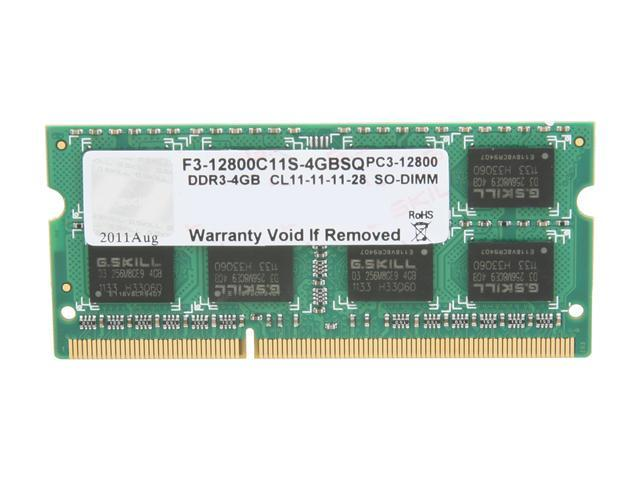 G.SKILL 4GB 204-Pin DDR3 SO-DIMM DDR3 1600 (PC3 12800) Laptop Memory Model F3-12800CL11S-4GBSQ