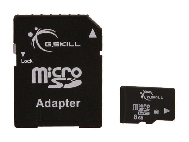 G.SKILL 8GB microSDHC Flash Card w/ SD Adapter Model FF-TSDG8GA-C10