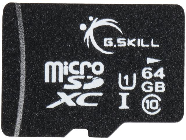 G.Skill 64GB microSDXC UHS-I/U1 Class 10 Memory Card with Adapter (FF-TSDXC64GA-U1)