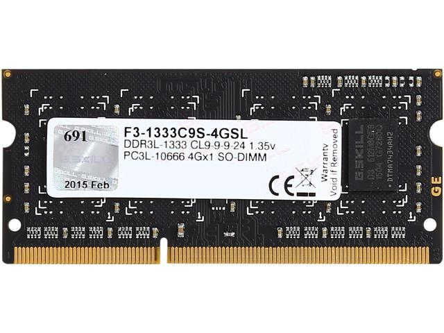 G.SKILL 4GB 204-Pin DDR3 SO-DIMM DDR3L 1333 (PC3L 10666) Laptop Memory Model F3-1333C9S-4GSL