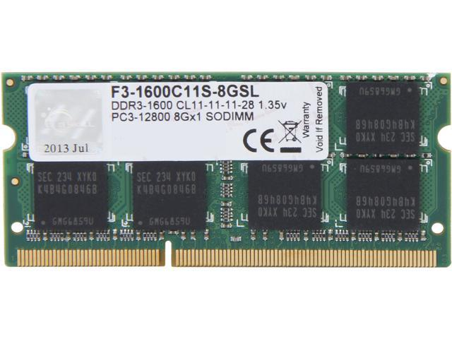 G.SKILL 8GB 204-Pin DDR3 SO-DIMM DDR3L 1600 (PC3L 12800) Laptop Memory Model F3-1600C11S-8GSL
