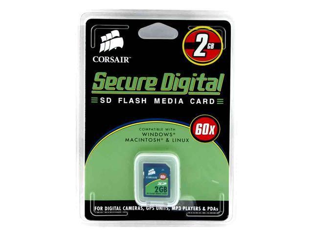 CORSAIR 2GB Secure Digital (SD) Flash Card Model CMFSD60-2GB