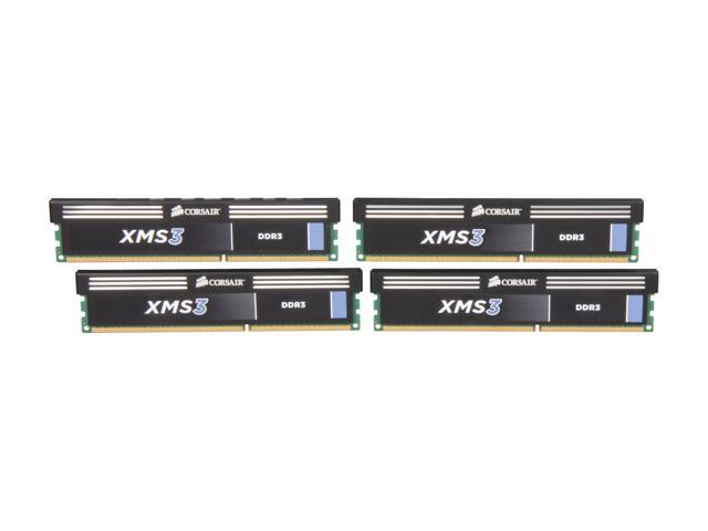 CORSAIR XMS3 16GB (4 x 4GB) 240-Pin DDR3 SDRAM DDR3 1333 Desktop Memory Model CMX16GX3M4A1333C9