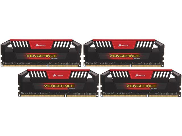 CORSAIR Vengeance Pro 32GB (4 x 8GB) 240-Pin DDR3 SDRAM DDR3 2400 (PC3 19200) Desktop Memory Model CMY32GX3M4A2400C10R (Red)