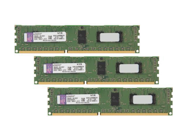 Kingston 6GB (3 x 2GB) 240-Pin DDR3 SDRAM ECC Registered DDR3 1333 Server Memory SR x8 1.35V Intel Model KVR13LR9S8K3/6I