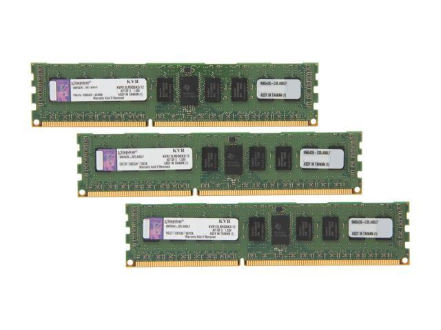 Kingston 12GB (3 x 4GB) 240-Pin DDR3 SDRAM ECC Registered DDR3 1333 Server Memory DR x8 1.35V Model KVR13LR9D8K3/12