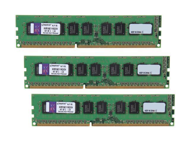 Kingston ValueRAM 24GB (3 x 8GB) 240-Pin DDR3 SDRAM ECC Unbuffered DDR3 1600 Server Memory w/TS Model KVR16E11K3/24