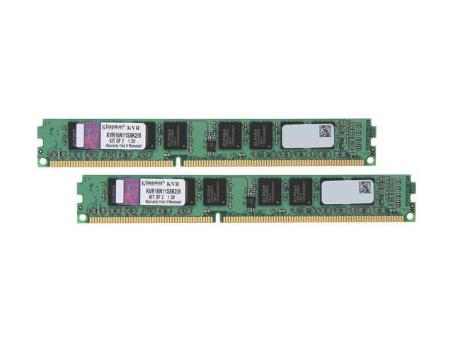 Kingston 8GB (2 x 4GB) 240-Pin DDR3 SDRAM DDR3 1600 (PC3 12800) Memory Model KVR16N11S8K2/8