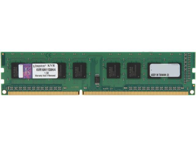 Kingston 4GB 240-Pin DDR3 SDRAM DDR3 1600 (PC3 12800) Desktop Memory Model KVR16N11S8H/4