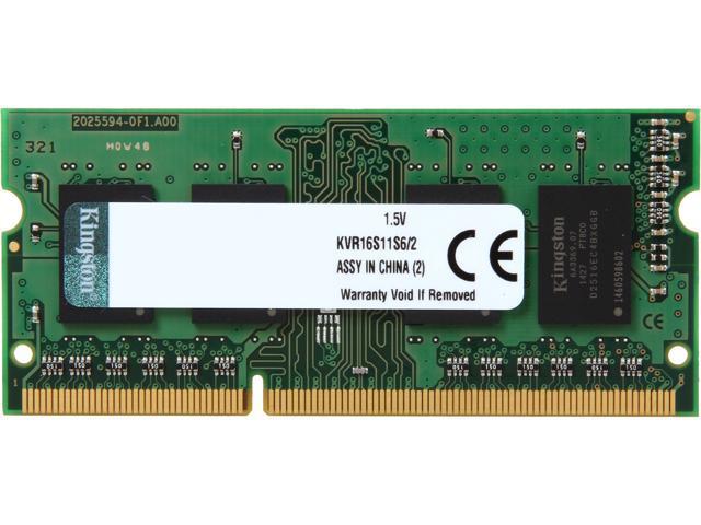 Kingston 2GB 204-Pin DDR3 SO-DIMM DDR3 1600 (PC3 12800) Laptop Memory Model KVR16S11S6/2
