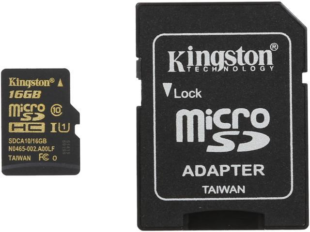 Kingston 16GB microSDHC Flash Card With Adapter Model SDCA10/16GB
