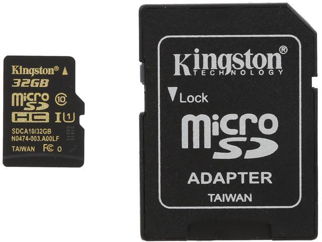 Kingston 32GB microSDHC Flash Card With Adapter Model SDCA10/32GB