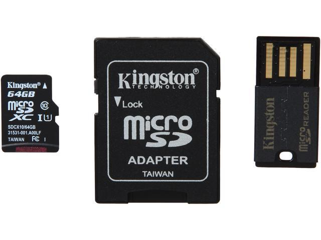 Kingston 64GB microSDXC Flash Card With SD Adapter and USB Adapter Model MBLY10G2/64GB