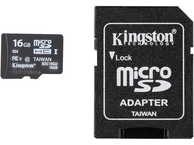 Kingston 16GB microSDHC Flash Card + SD Adapter Model SDC10G2/16GB