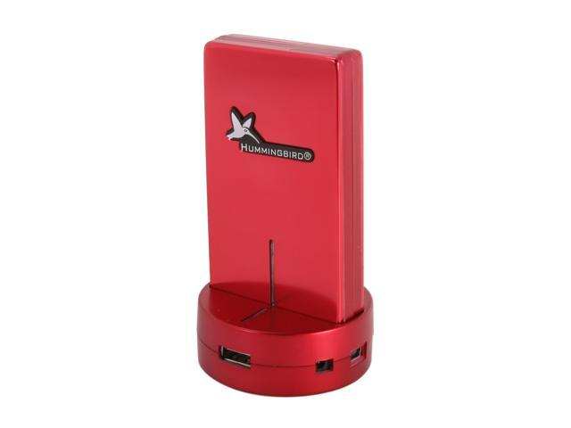 Hummingbird HCRH4 All-in-one USB 2.0 Card Reader + 3 Ports USB 2.0 Hub - Red