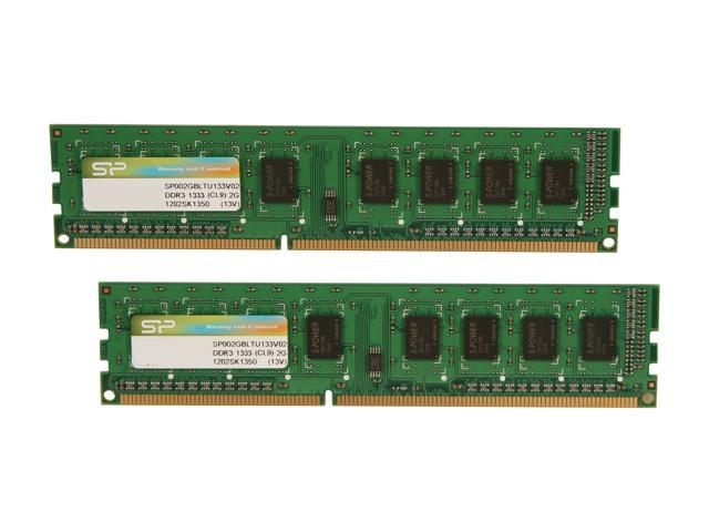 Silicon Power 4GB (2 x 2GB) 240-Pin DDR3 SDRAM DDR3 1333 (PC3 10600) Desktop Memory Model SP004GBLTU133V22