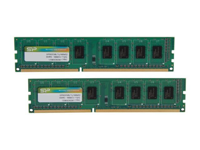 Silicon Power 4GB (2 x 2GB) 240-Pin DDR3 SDRAM DDR3 1600 (PC3 12800) Desktop Memory Model SP004GBLTU160V22