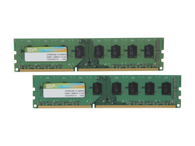 Silicon Power 8GB (2 x 4GB) 240-Pin DDR3 SDRAM DDR3 1600 (PC3 12800) Desktop Memory Model SP008GBLTU160V22
