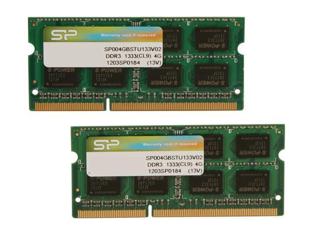 Silicon Power 8GB (2 x 4GB) 204-Pin DDR3 SO-DIMM DDR3 1333 (PC3 10600) Laptop Memory Model SP008GBSTU133V22