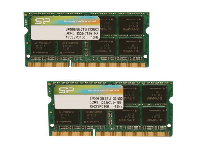 Silicon Power 16GB (2 x 8G) 204-Pin DDR3 SO-DIMM DDR3 1333 (PC3 10600) Laptop Memory Model SP016GBSTU133N22