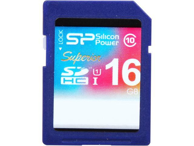 Silicon Power Superior 16GB SDHC UHS-I Card Class 10 Full-HD Video Recording Performance 90MB/s