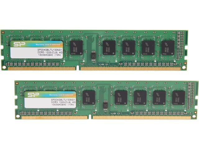 Silicon Power 8GB (2 x 4GB) 240-Pin DDR3 SDRAM DDR3 1333 (PC3 10600) Desktop Memory Model SP008GBLTU133N21