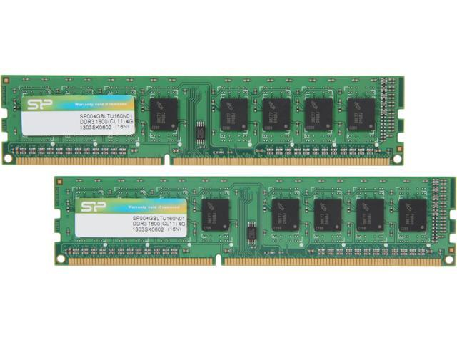 Silicon Power 8GB (2 x 4GB) 240-Pin DDR3 SDRAM DDR3 1600 (PC3 12800) Desktop Memory Model SP008GBLTU160N21