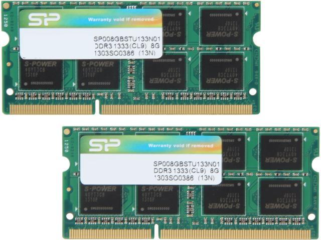 Silicon Power 16GB (2 x 8G) 204-Pin DDR3 SO-DIMM DDR3 1333 (PC3 10600) Laptop Memory Model SP016GBSTU133N21