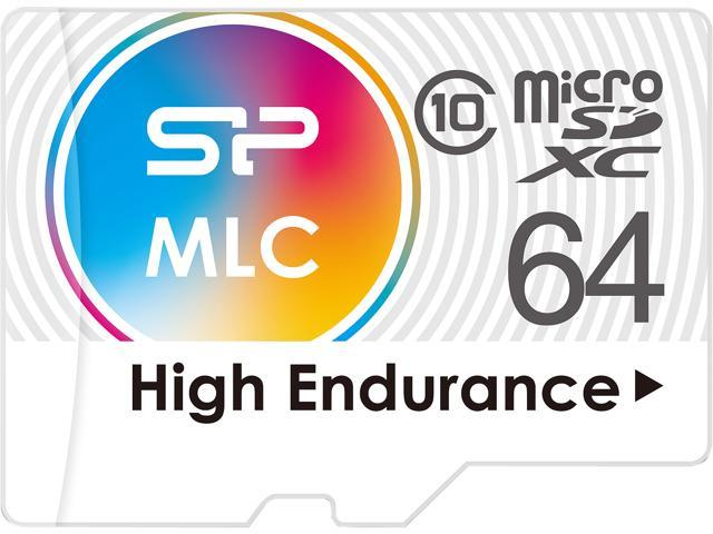 Silicon Power 64GB High Endurance MLC MicroSDXC Memory Card, Ideal for Dash Cam and Security Camera, with Adapter (SP064GBSTXIU3V10SP)