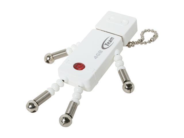 Team T bot 4GB USB 2.0 Flash Drive (White) Model TG004GR501WX