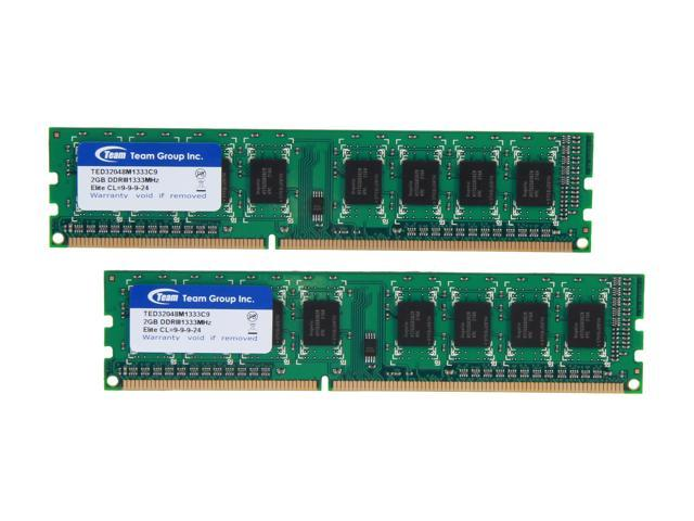 Team Elite 4GB (2 x 2GB) 240-Pin DDR3 SDRAM DDR3 1333 (PC3 10600) Desktop Memory Model TED34096M1333C9DC