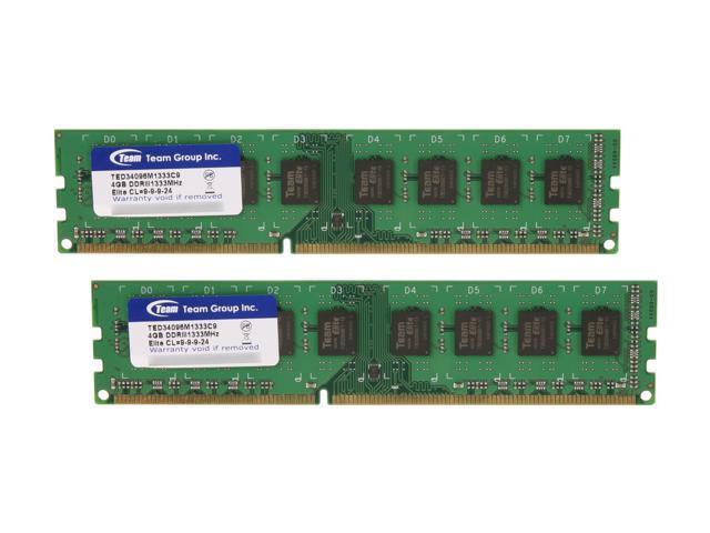 Team Elite 8GB (2 x 4GB) 240-Pin DDR3 SDRAM DDR3 1333 (PC3 10600) Desktop Memory Model TED38192M1333C9DC