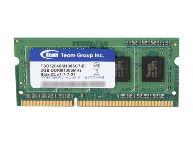 Team 2GB 204-Pin DDR3 SO-DIMM DDR3 1066 (PC3 8500) Laptop Memory Model TSD32048M1066C7-E