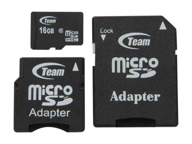 Team 16GB microSDHC Flash Card (with 2 Adapters) Model TG016G0MC26B