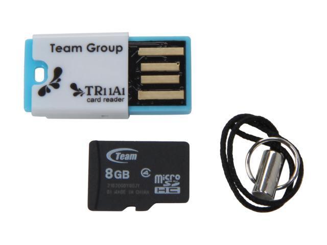 Team 8GB microSDHC Flash Card w/ USB2.0 Micro SD Card Reader TR11A1 Model TG008G0MC24C