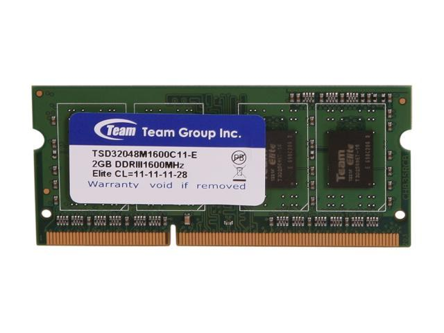 Team 2GB 204-Pin DDR3 SO-DIMM DDR3 1600 Laptop Memory Model TSD32048M1600C11-E