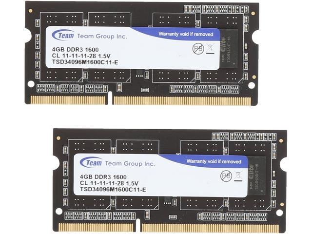 Team 8GB (2 x 4GB) 204-Pin DDR3 SO-DIMM DDR3 1600 Laptop Memory Model TSD38192M1600C11DC-E