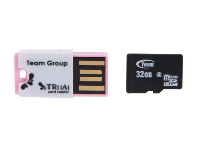 Team 32GB microSDHC Flash Card with USB Card Reader (Pink) Model TUSDH32GCL606