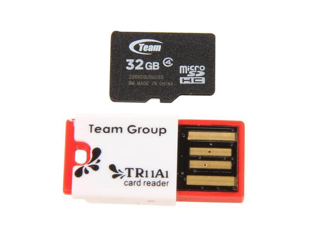 Team 32GB microSDHC Flash Card with USB Card Reader (Red) Model TUSDH32GCL430