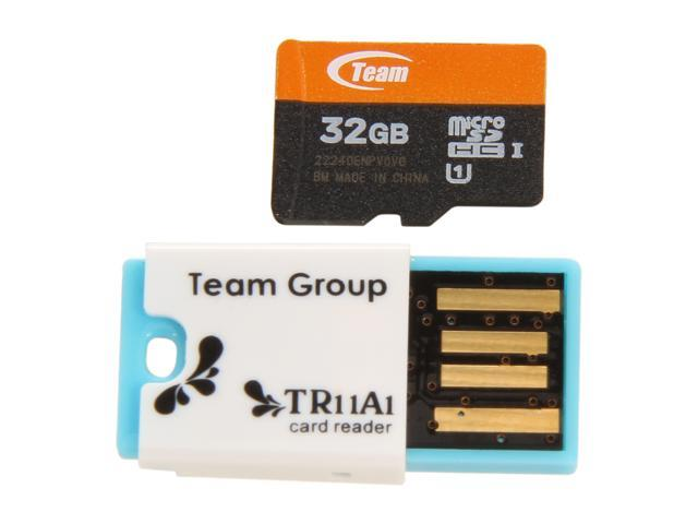 Team 32GB microSDHC Flash Card with USB Card Reader (Blue) Model TUSDH32GUHS05