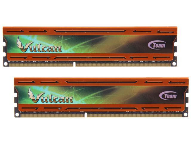 Team Vulcan 8GB (2 x 4GB) 240-Pin DDR3 SDRAM DDR3 2400 (PC3 19200) Desktop Memory (Orange Heat Spreader) Model TLAD38G2400HC10TDC01